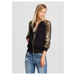 Xhilaration Gold Sequin Black Bomber Jacket